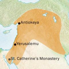 Mapu osonyeza dera la Antiokeya komanso Yerusalemu kumene anthu ankalankhula Chisiriya