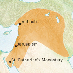 Map of the area around Antioch and Jerusalem where Syriac was spoken