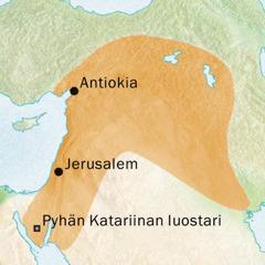 Kartta Antiokiaa ja Jerusalemia ympäröivästä alueesta, missä puhuttiin syyriaa