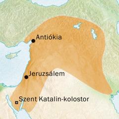 Térkép Antiókia és Jeruzsálem környékéről, ahol szírül beszéltek