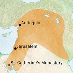 Mapa sang lugar sa palibot sang Antioquia kag Jerusalem nga ginahambal ang Syriac