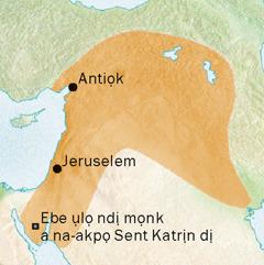 Map gosiri Antiọk, Jeruselem, na ebe ndị dị ha nso a na-asụbu Siriak na ha