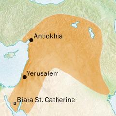 Peta daerah sekitar Antiokhia dan Yerusalem tempat bahasa Siria digunakan