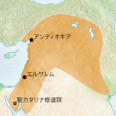 シリア語が話されていた,アンティオキアとエルサレムとその周辺地域を示す地図