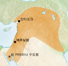 시리아어가 사용된 안티오크와 예루살렘 인근 지역의 지도