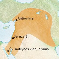 Antiochijos ir Jeruzalės apylinkių, kur buvo kalbama siriškai, žemėlapis