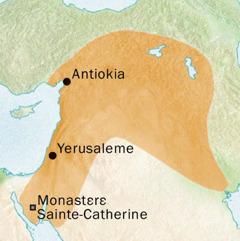Karte ya mabele zingazinga ya Antiokia mpe Yerusaleme epai bazalaki koloba monɔkɔ ya Syriaque