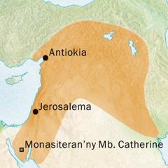 Faritra nampiasana ny teny syriàka, teny amin'ny manodidina an'i Antiokia sy Jerosalema