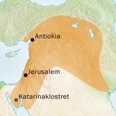 Kart over det området rundt Antiokia og Jerusalem hvor det ble snakket syrisk