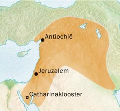 Kaart van het gebied rond Antiochië en Jeruzalem waar het Syrisch werd gesproken