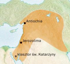 Mapa okolic Antiochii iJerozolimy, gdzie posługiwano się językiem syryjskim
