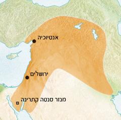 מפה של האזור סביב אנטיוכיה וירושלים, היכן שהסורית הייתה שפה רווחת