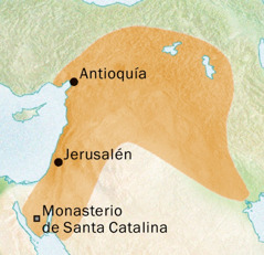 Mapa de la región de Antioquía y Jerusalén, donde se hablaba siríaco