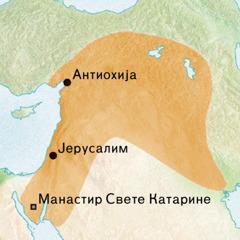Мапа подручја око Антиохије и Јерусалима где се говорио сиријски