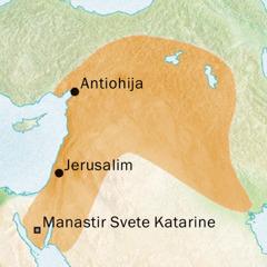 Mapa područja oko Antiohije i Jerusalima gde se govorio sirijski