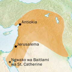 Mmapa wo o bontšhago dinaga tšeo di bego di dikologilego Antiokia le Jerusalema moo Sesiria se bego se bolelwa