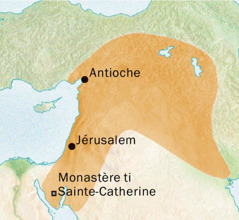 Carte ti ando so angoro Antioche nga na Jérusalem, so a yeke tene yanga ti Syriaque dä ândö