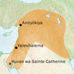 Karte ka tshitupa tshia Antiyokiya ne Yelushalema muaba uvuabu bakula tshiena Sulia
