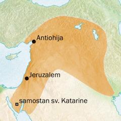 Zemljevid, ki prikazuje področje okoli Antiohije in Jeruzalema, kjer so govorili sirsko.