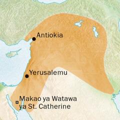 Ramani inayoonyesha maeneo ya Antiokia na Yerusalemu ambako Kisiria kilizungumzwa