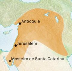 Mapa da área de Antioquia e Jerusalém onde o siríaco era falado