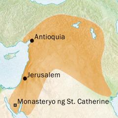 Mapa ng mga lugar na nakapalibot sa Antioquia at Jerusalem kung saan dating sinasalita ang Syriac