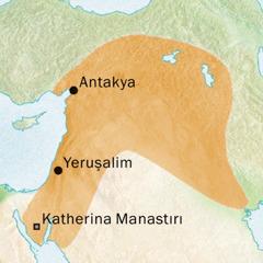 Süryanicenin konuşulduğu Antakya ve Yeruşalim bölgesinin haritası