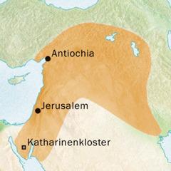 Landkarte des Gebiets um Antiochia und Jerusalem, wo Syrisch gesprochen wurde