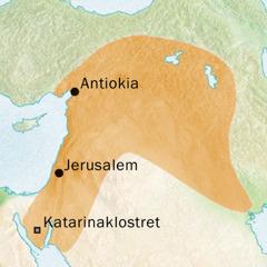 Karta över området kring Antiokia och Jerusalem där man talade syriska.