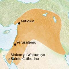 Karte ya eneo linalozunguka Antiokia na Yerusalemu ambako luga ya Kisiria ilizungumuzwa
