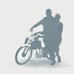 A missionary couple gets on a motorcycle