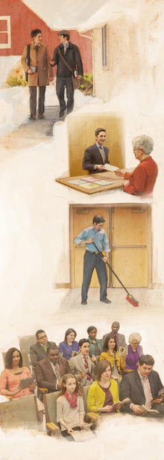 A Christian man: 1. Out in service; 2. At the literature counter; 3. Cleaning the Kingdom Hall; 4. Commenting at a meeting