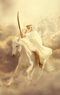 Jesus Christ riding forth to conquer enemies of God's Kingdom