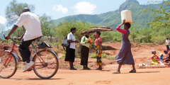 Jehovah's Witnesses preaching to passersby near the Mbololo hills in southeast Kenya