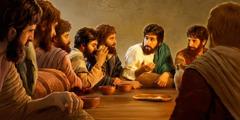 যিশু প্রভুর সান্ধ্যভোজ প্রবর্তন করছেন