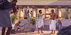 Potiphar's wife sees Joseph among the men of her household