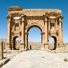 A Roman triumphal arch in Timgad