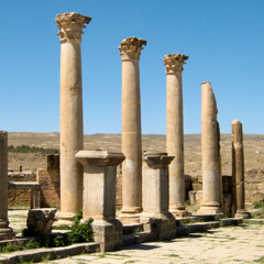 Ruins of a marketplace with elegant colonnades and stalls in Timgad
