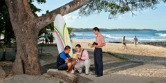 Jehovah's Witnesses preaching on Tamarindo Beach in Costa Rica