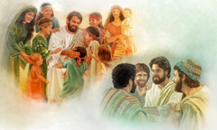 Jesus welcomes little children who come to him and he speaks kindly to his disciples