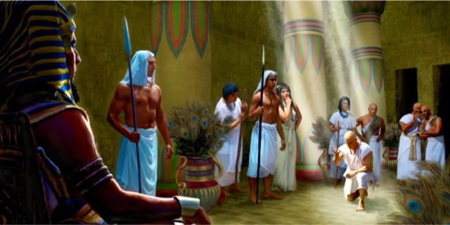 Joseph bowing before Pharaoh in the court of the royal palace