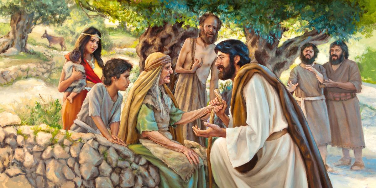 Yesus berbicara dengan lembut kepada orang yang bersusah hati
