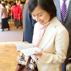 A woman reading the new publication