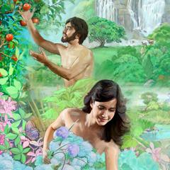 Adamo ed Eva, giovani e sani, nel lussureggiante giardino di Eden