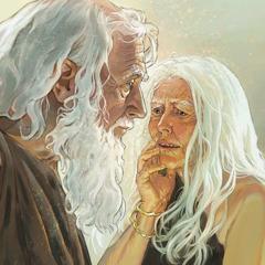 Adam och Eva, gamla och slitna, utanför Edens trädgård.