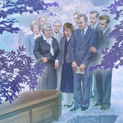 Människor sörjer vid en kista på en kyrkogård.