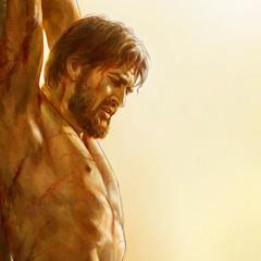 Jesus är döende på tortyrpålen.