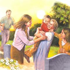 Persone felici si riuniscono durante la risurrezione