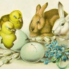 Velikonočna zajčka, piščančka in jajčki