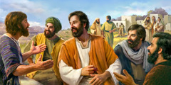 Jesus smiles brightly as the 70 return with joy and relate experiences; the scribes and Pharisees murmur in the background